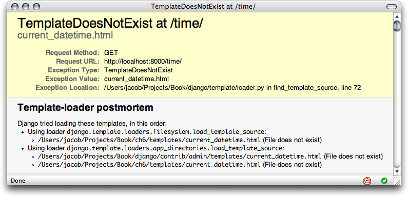Screenshot of a TemplateDoesNotExist error.