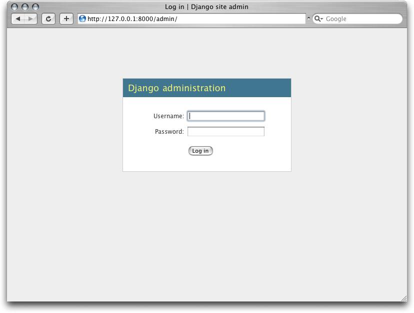 Django 登录页面的截图。