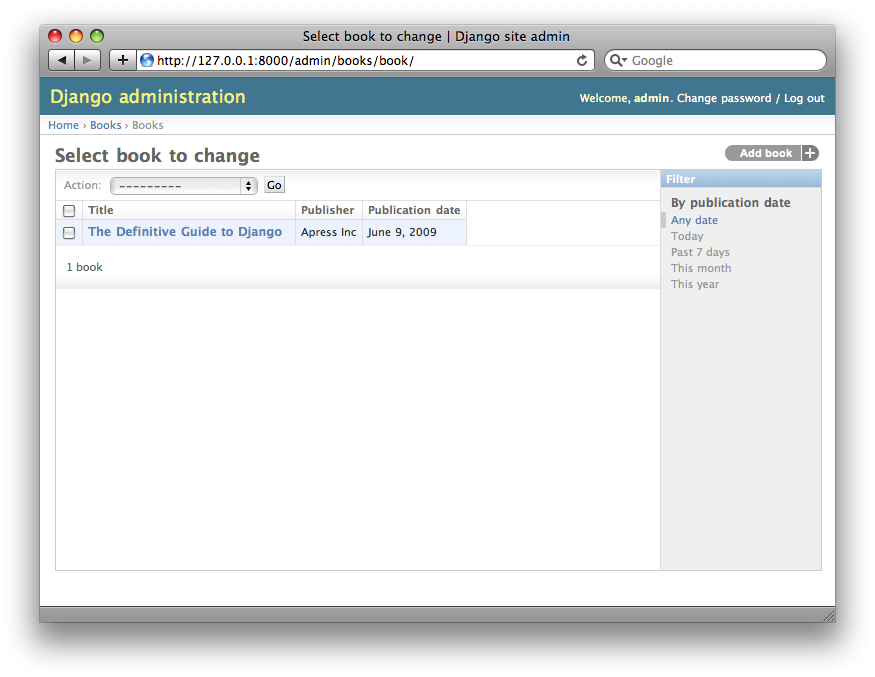 Screenshot of the book change list page after list_filter.