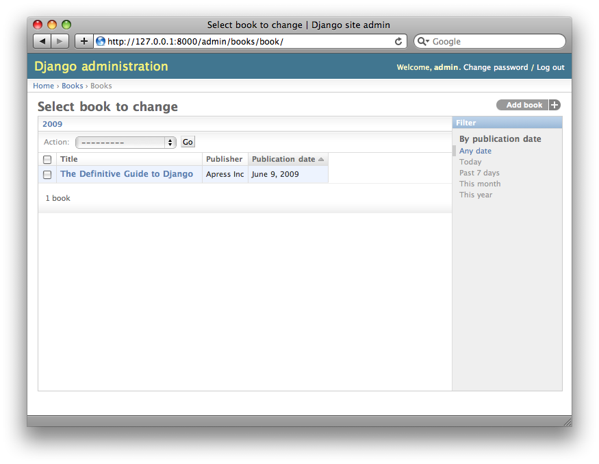 Screenshot of the book change list page after ordering.