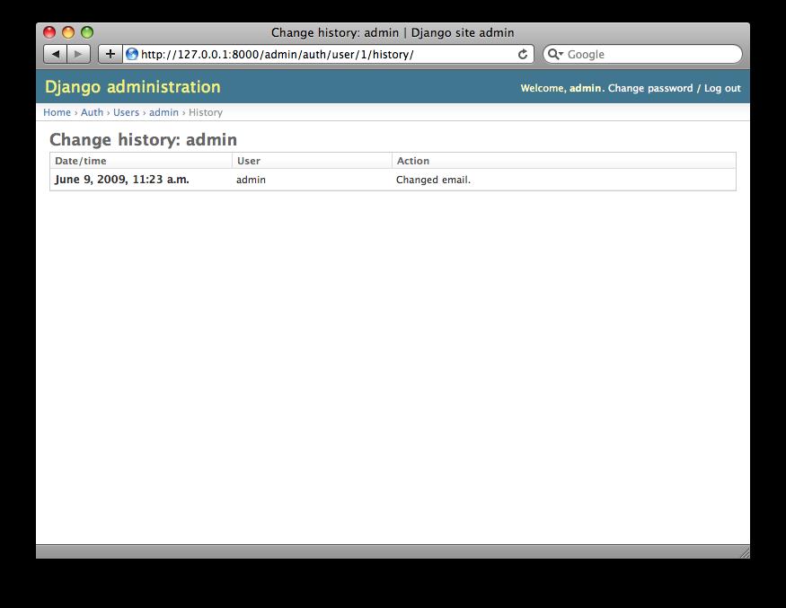 Django 历史页面截图。